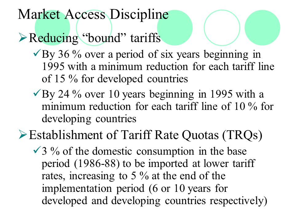 Market Access Discipline  Reducing bound tariffs By 36 % over a period of six years beginning in 1995 with a minimum reduction for each tariff line of 15 % for developed countries By 24 % over 10 years beginning in 1995 with a minimum reduction for each tariff line of 10 % for developing countries  Establishment of Tariff Rate Quotas (TRQs) 3 % of the domestic consumption in the base period (1986-88) to be imported at lower tariff rates, increasing to 5 % at the end of the implementation period (6 or 10 years for developed and developing countries respectively)