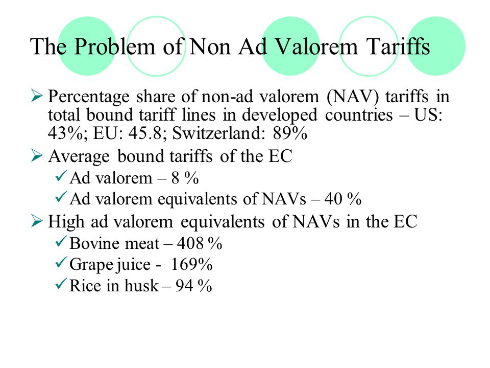 The Problem of Non Ad Valorem Tariffs  Percentage share of non-ad valorem (NAV) tariffs in total bound tariff lines in developed countries – US: 43%; EU: 45.8; Switzerland: 89%  Average bound tariffs of the EC Ad valorem – 8 % Ad valorem equivalents of NAVs – 40 %  High ad valorem equivalents of NAVs in the EC Bovine meat – 408 % Grape juice - 169% Rice in husk – 94 %