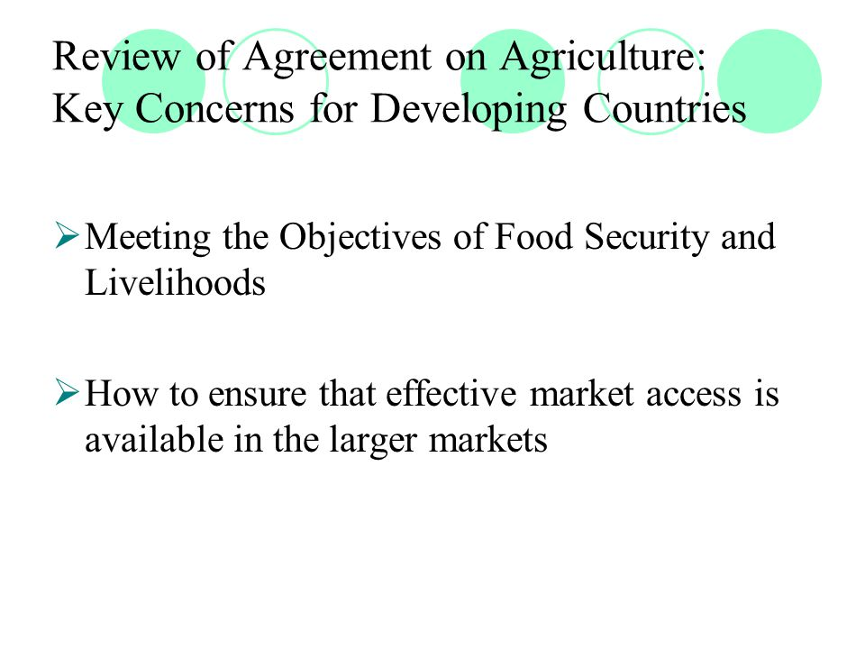 Review of Agreement on Agriculture: Key Concerns for Developing Countries  Meeting the Objectives of Food Security and Livelihoods  How to ensure that effective market access is available in the larger markets