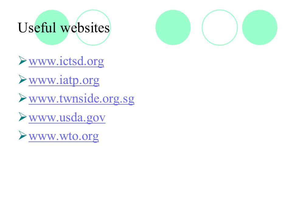 Useful websites  www.ictsd.org www.ictsd.org  www.iatp.org www.iatp.org  www.twnside.org.sg www.twnside.org.sg  www.usda.gov www.usda.gov  www.wto.org www.wto.org