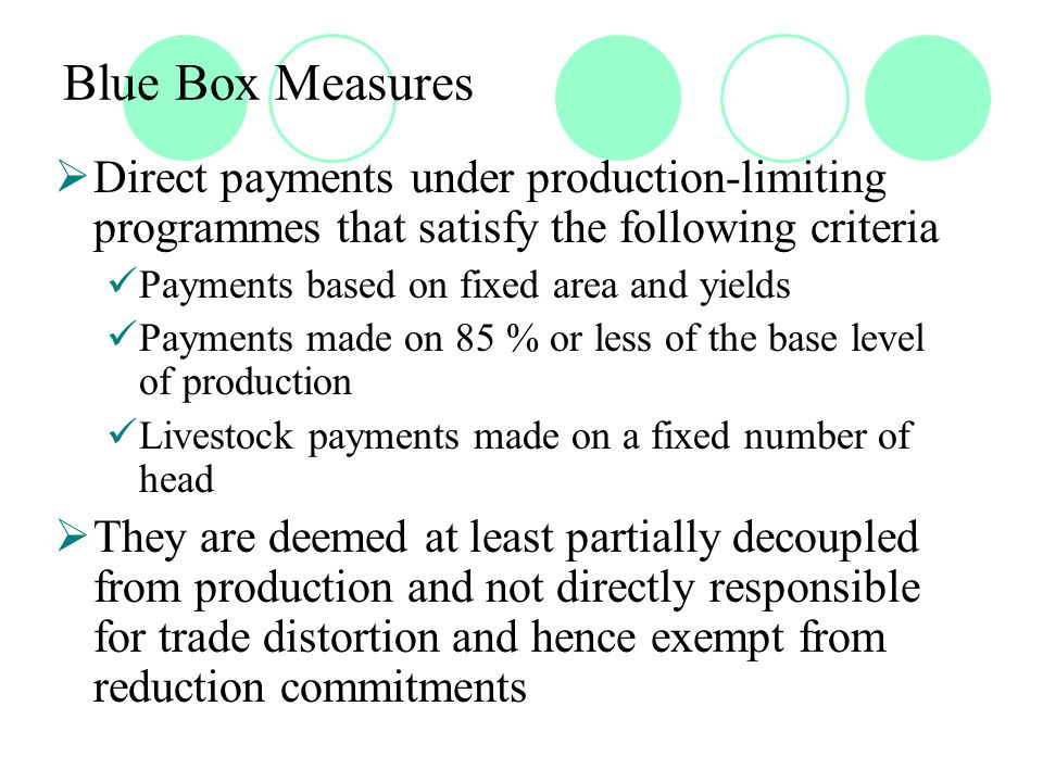 Blue Box Measures  Direct payments under production-limiting programmes that satisfy the following criteria Payments based on fixed area and yields Payments made on 85 % or less of the base level of production Livestock payments made on a fixed number of head  They are deemed at least partially decoupled from production and not directly responsible for trade distortion and hence exempt from reduction commitments