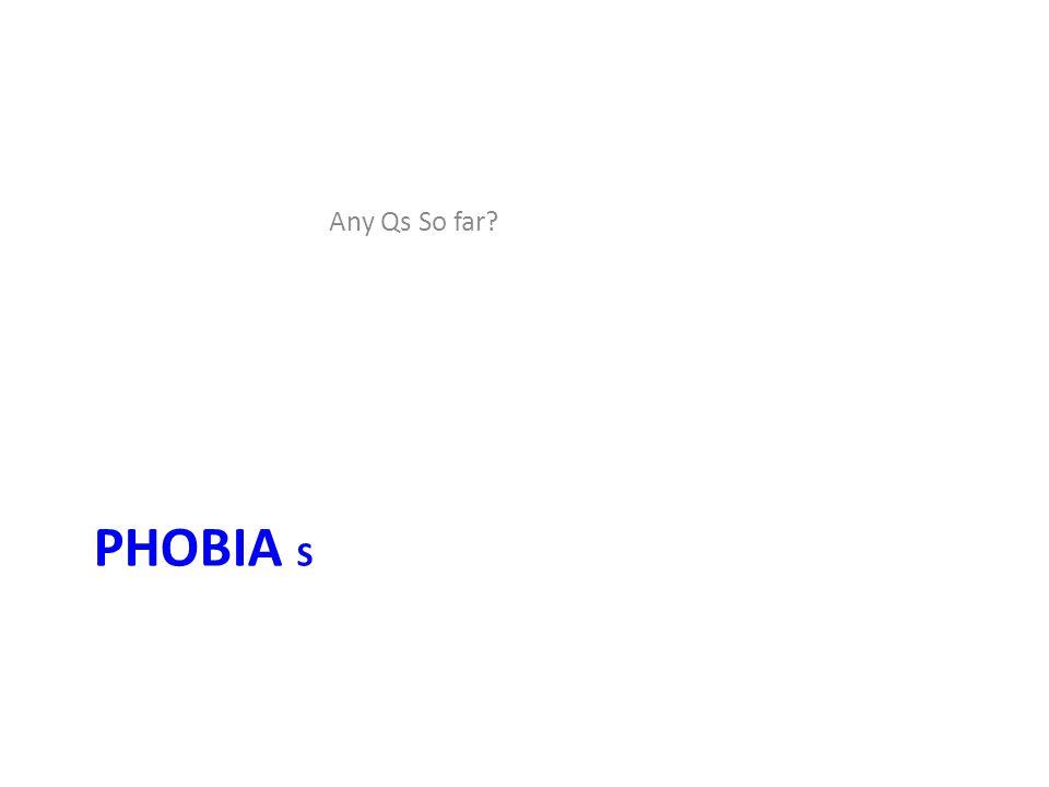 PHOBIA S Any Qs So far?