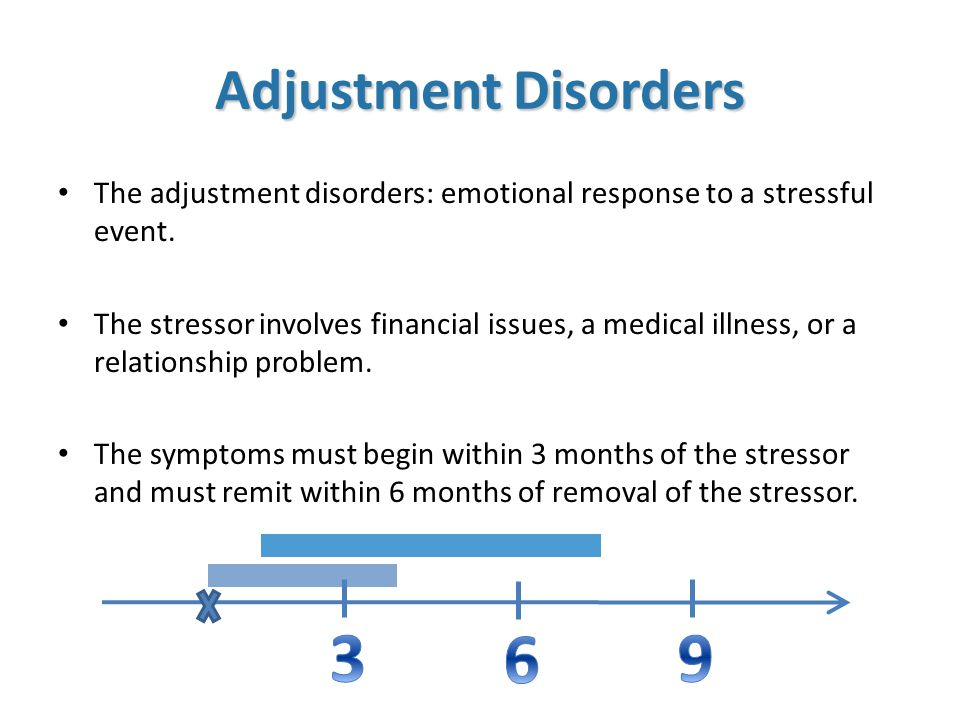 The adjustment disorders: emotional response to a stressful event.
