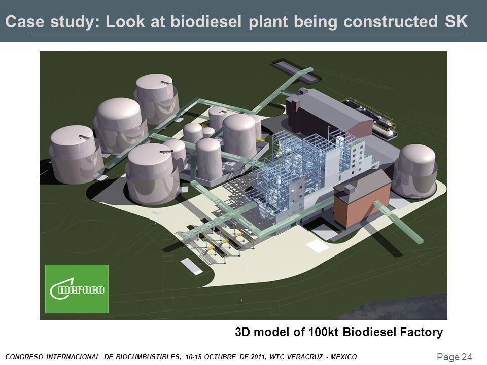Page 24 CONGRESO INTERNACIONAL DE BIOCUMBUSTIBLES, 10-15 OCTUBRE DE 2011, WTC VERACRUZ - MEXICO 3D model of 100kt Biodiesel Factory Case study: Look at biodiesel plant being constructed SK
