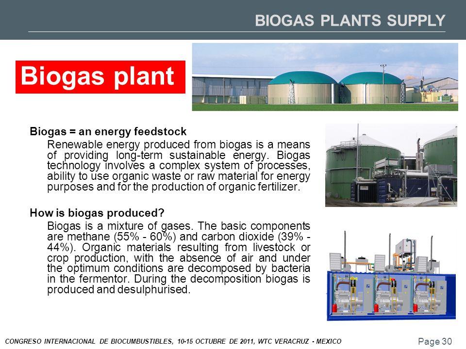 Page 30 CONGRESO INTERNACIONAL DE BIOCUMBUSTIBLES, 10-15 OCTUBRE DE 2011, WTC VERACRUZ - MEXICO Biogas = an energy feedstock Renewable energy produced from biogas is a means of providing long-term sustainable energy.