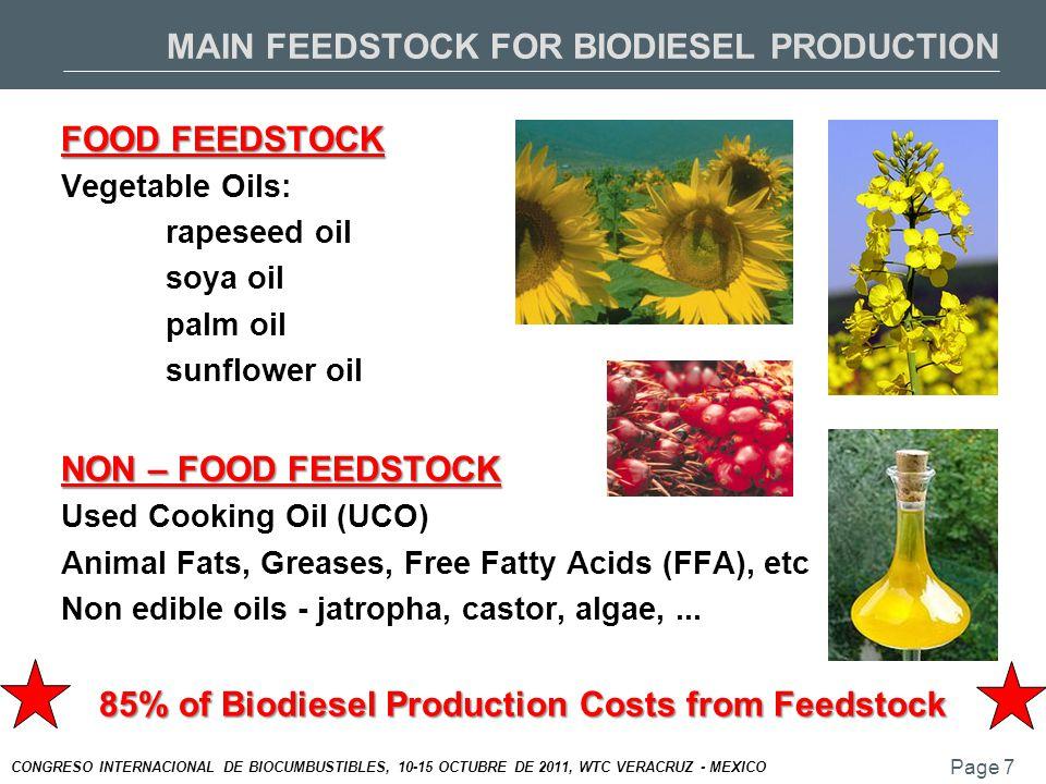 Page 7 CONGRESO INTERNACIONAL DE BIOCUMBUSTIBLES, 10-15 OCTUBRE DE 2011, WTC VERACRUZ - MEXICO MAIN FEEDSTOCK FOR BIODIESEL PRODUCTION FOOD FEEDSTOCK Vegetable Oils: rapeseed oil soya oil palm oil sunflower oil NON – FOOD FEEDSTOCK Used Cooking Oil (UCO) Animal Fats, Greases, Free Fatty Acids (FFA), etc Non edible oils - jatropha, castor, algae,...