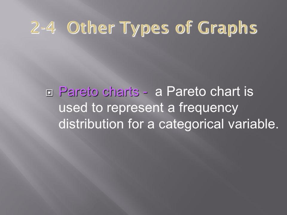  Pareto charts -  Pareto charts - a Pareto chart is used to represent a frequency distribution for a categorical variable.