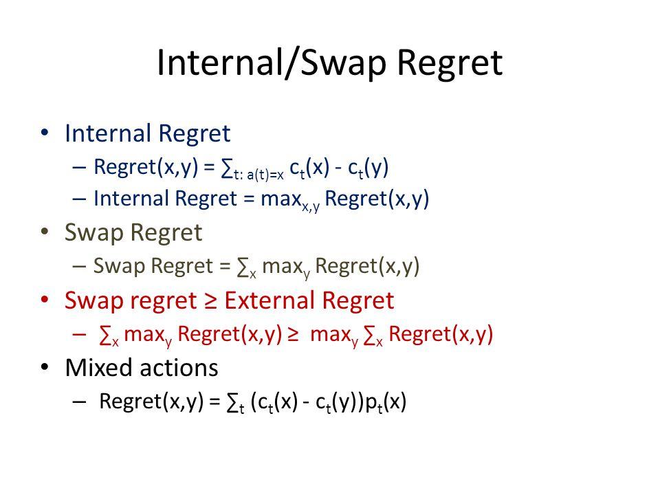 Internal/Swap Regret Internal Regret – Regret(x,y) = ∑ t: a(t)=x c t (x) - c t (y) – Internal Regret = max x,y Regret(x,y) Swap Regret – Swap Regret = ∑ x max y Regret(x,y) Swap regret ≥ External Regret – ∑ x max y Regret(x,y) ≥ max y ∑ x Regret(x,y) Mixed actions – Regret(x,y) = ∑ t (c t (x) - c t (y))p t (x)
