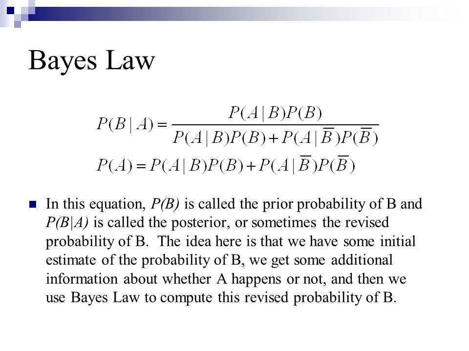 Bayes Law In this equation, P(B) is called the prior probability of B and P(B|A) is called the posterior, or sometimes the revised probability of B. T