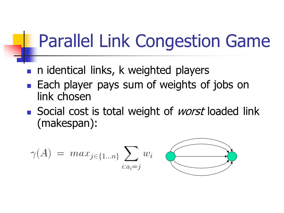 Parallel Link Congestion Game n identical links, k weighted players Each player pays sum of weights of jobs on link chosen Social cost is total weight