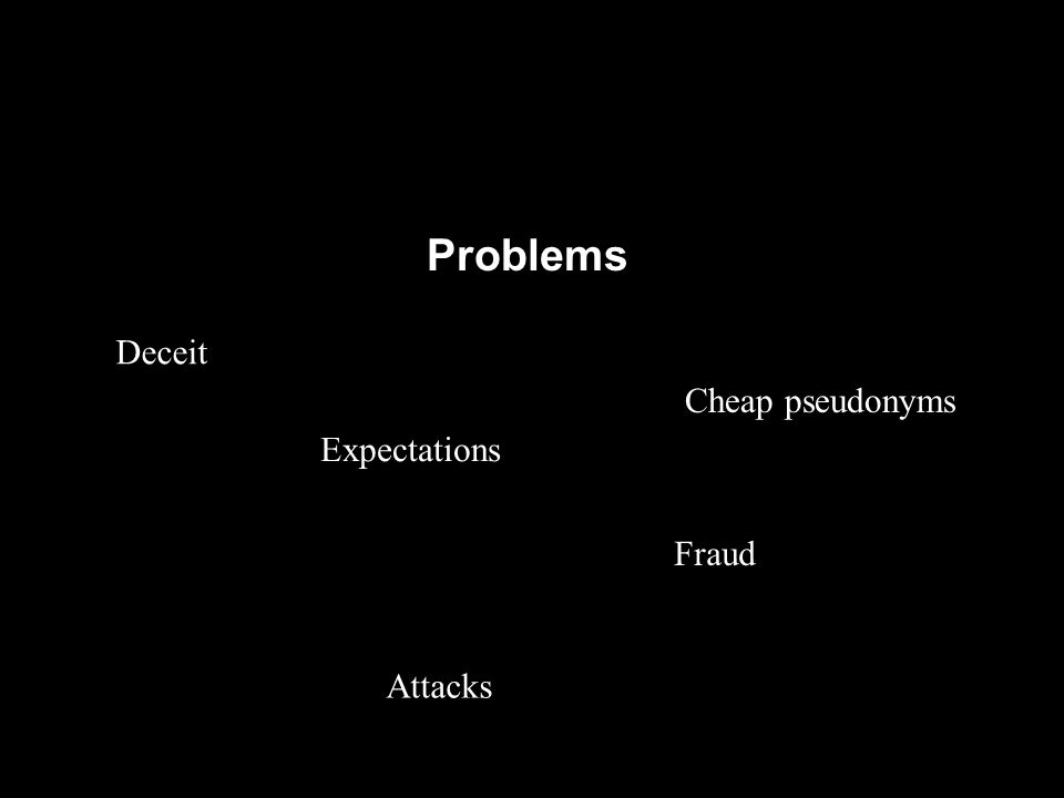 Problems Deceit Expectations Fraud Cheap pseudonyms Attacks