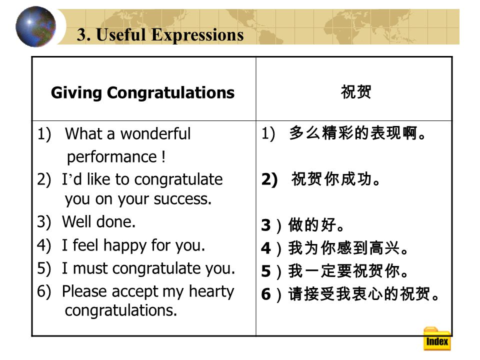 3. Useful Expressions Giving Congratulations 祝贺 1)What a wonderful performance .