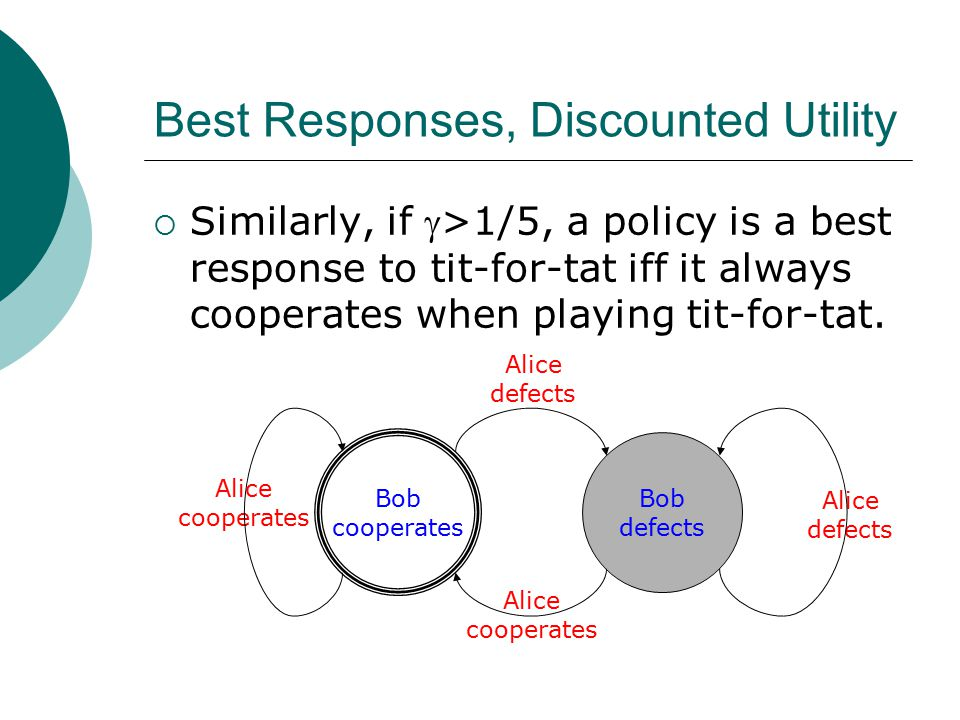 Best Responses, Discounted Utility  Similarly, if >1/5, a policy is a best response to tit-for-tat iff it always cooperates when playing tit-for-tat