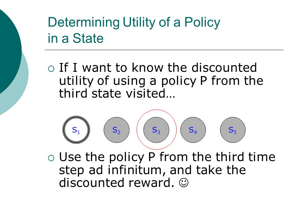 Determining Utility of a Policy in a State  If I want to know the discounted utility of using a policy P from the third state visited…  Use the poli