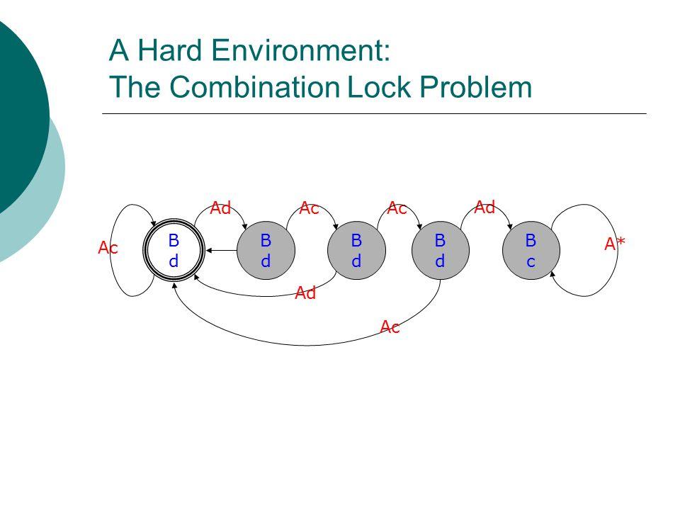 A Hard Environment: The Combination Lock Problem BdBd BdBd Ad Ac BdBd BdBd BcBc Ad A* Ad Ac