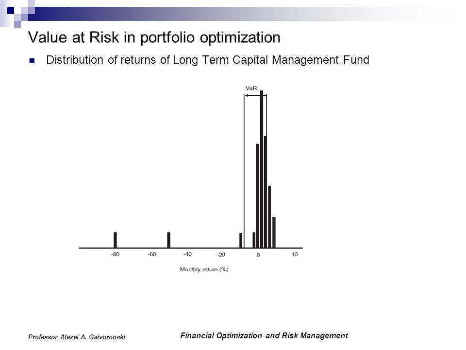 Financial Optimization and Risk Management Professor Alexei A. Gaivoronski Value at Risk in portfolio optimization Distribution of returns of Long Ter