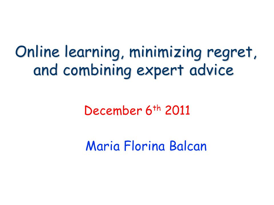 Online learning, minimizing regret, and combining expert advice.