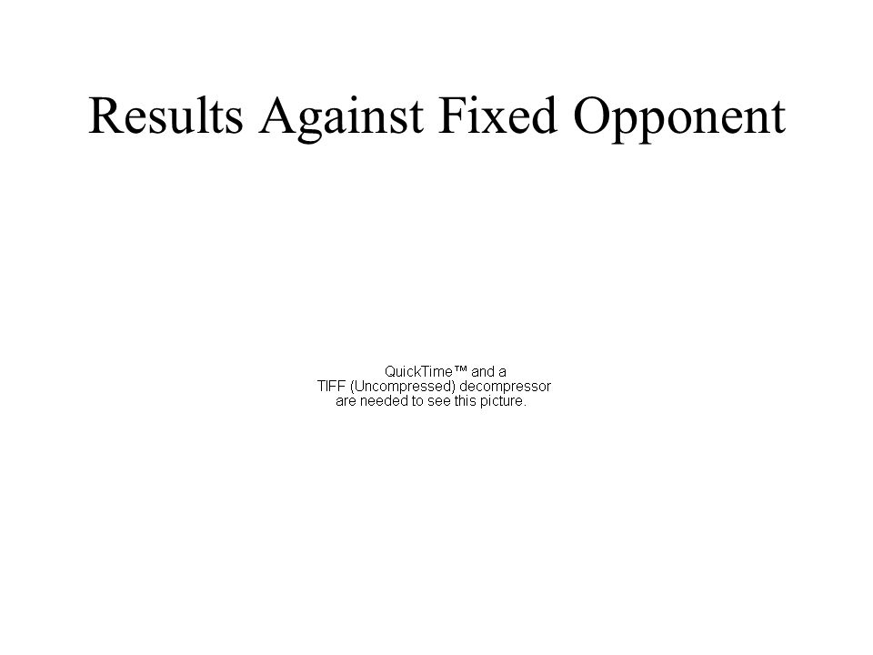 Results Against Fixed Opponent