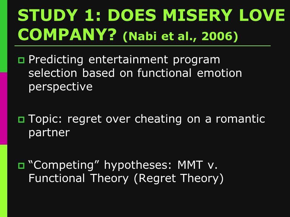 STUDY 1: DOES MISERY LOVE COMPANY.