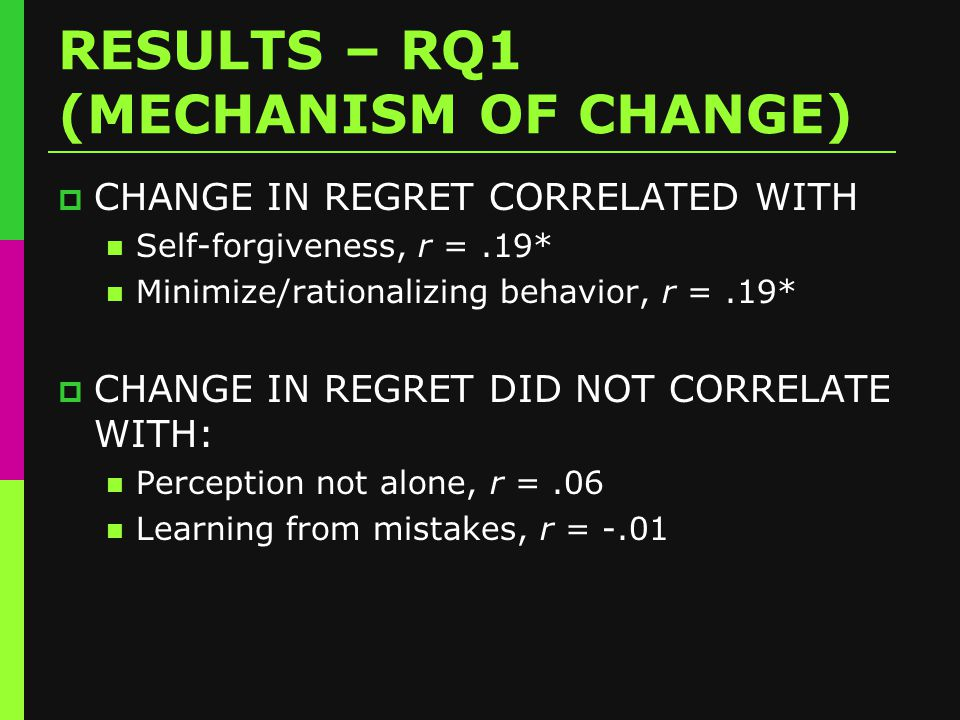 RESULTS – RQ1 (MECHANISM OF CHANGE)  CHANGE IN REGRET CORRELATED WITH Self-forgiveness, r =.19* Minimize/rationalizing behavior, r =.19*  CHANGE IN REGRET DID NOT CORRELATE WITH: Perception not alone, r =.06 Learning from mistakes, r = -.01