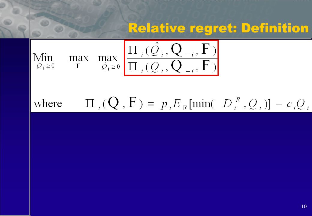 10 Relative regret: Definition