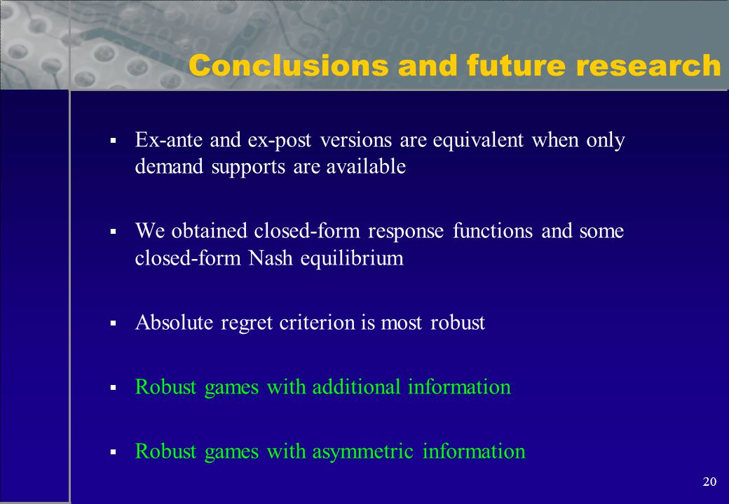 20 Conclusions and future research  Ex-ante and ex-post versions are equivalent when only demand supports are available  We obtained closed-form response functions and some closed-form Nash equilibrium  Absolute regret criterion is most robust  Robust games with additional information  Robust games with asymmetric information