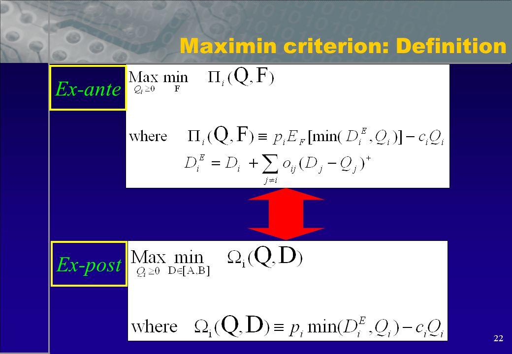 22 Maximin criterion: Definition Ex-ante Ex-post