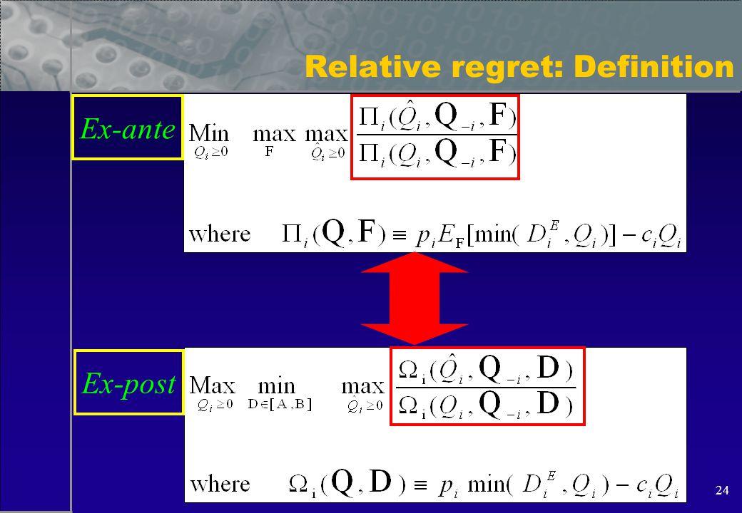 24 Relative regret: Definition Ex-ante Ex-post