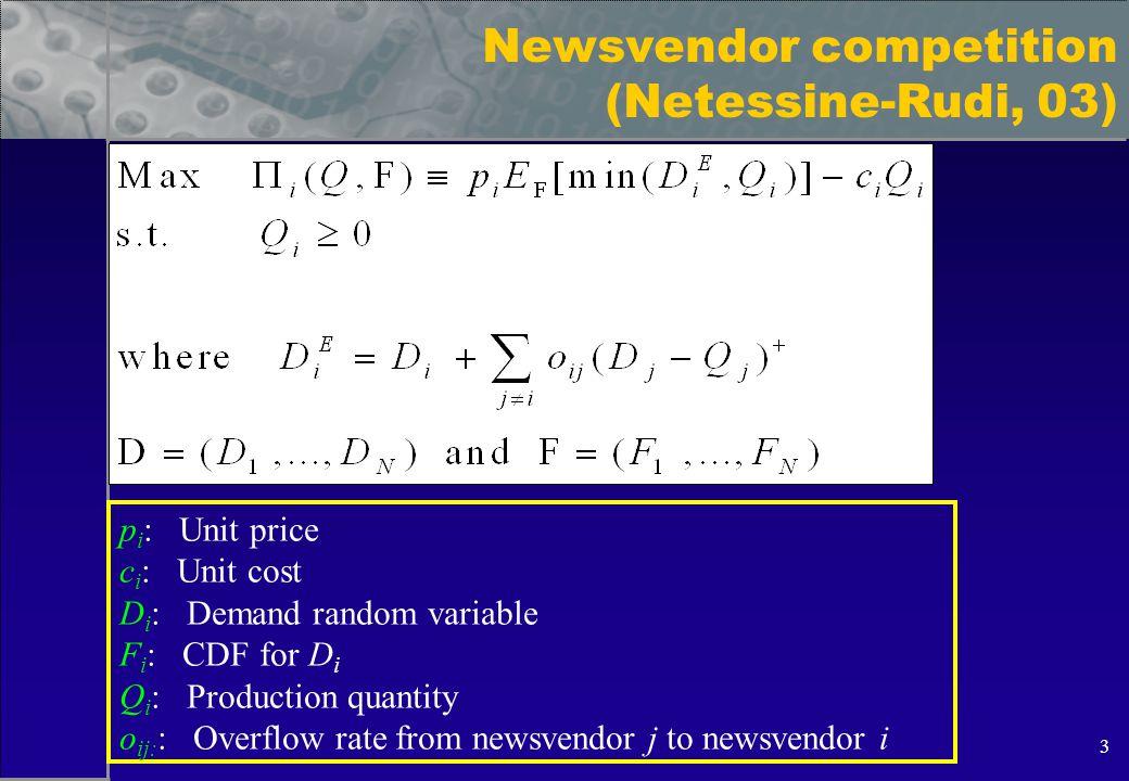 3 Newsvendor competition (Netessine-Rudi, 03) p i : Unit price c i : Unit cost D i : Demand random variable F i : CDF for D i Q i : Production quantity o ij: : Overflow rate from newsvendor j to newsvendor i