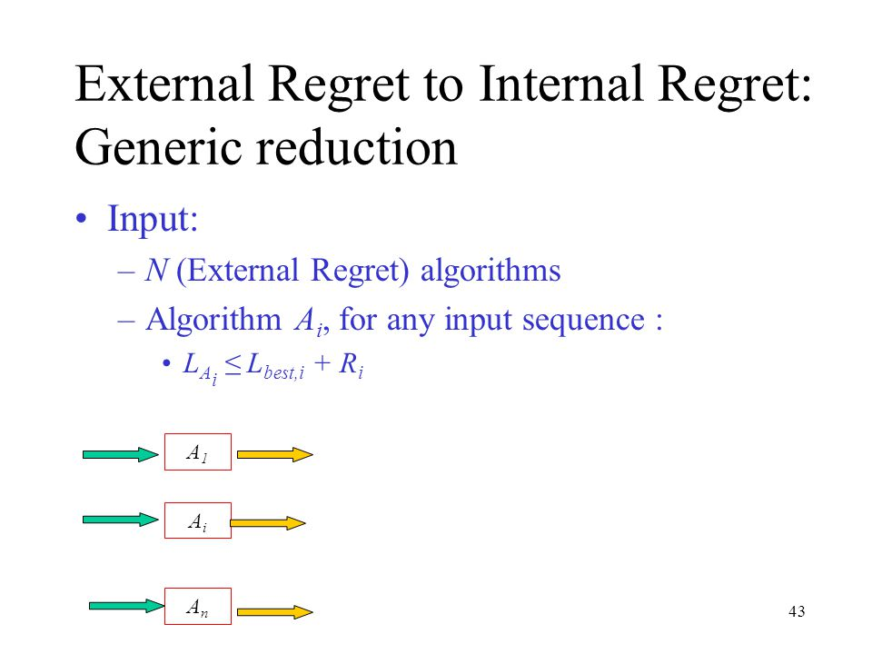43 External Regret to Internal Regret: Generic reduction Input: –N (External Regret) algorithms –Algorithm A i, for any input sequence : L A i ≤ L best,i + R i A1A1 AiAi AnAn