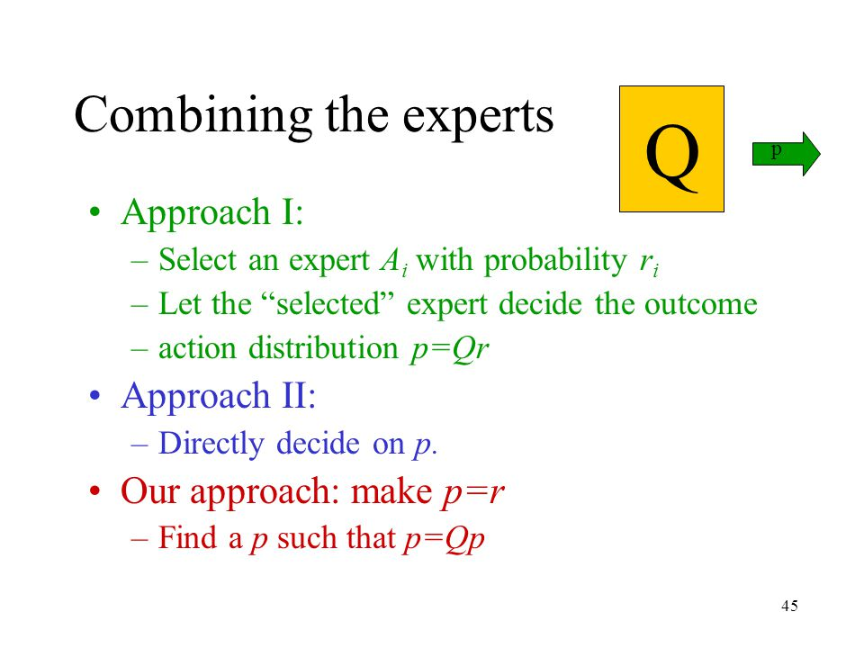 45 Combining the experts Approach I: –Select an expert A i with probability r i –Let the selected expert decide the outcome –action distribution p=Qr Approach II: –Directly decide on p.