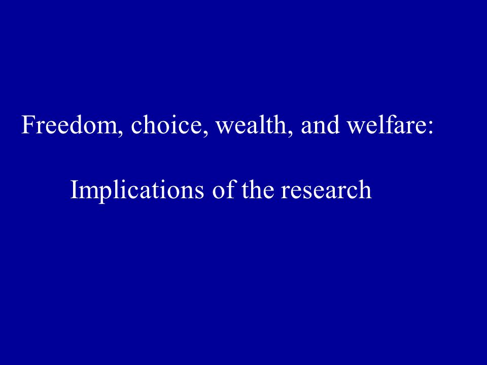Freedom, choice, wealth, and welfare: Implications of the research