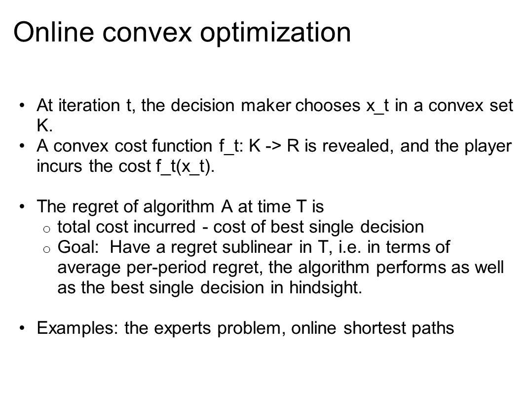 Online convex optimization At iteration t, the decision maker chooses x_t in a convex set K.