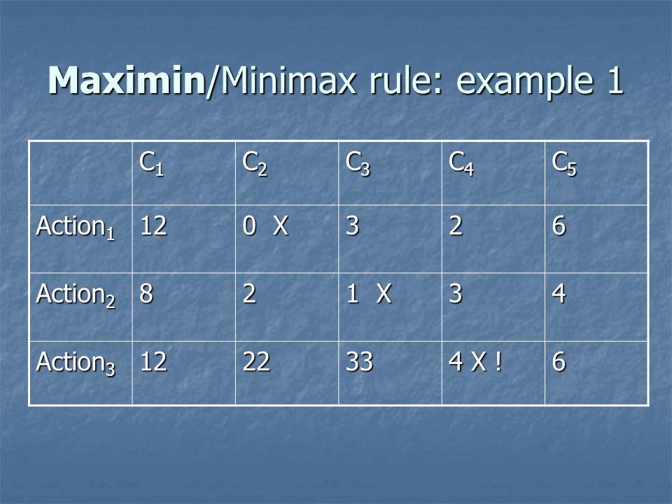 Maximin/Minimax rule: example 1 C1C1C1C1 C2C2C2C2 C3C3C3C3 C4C4C4C4 C5C5C5C5 Action 1 12 0 X 326 Action 2 82 1 X 34 Action 3 122233 4 X .
