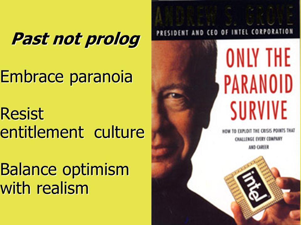 Past not prolog Embrace paranoia Resist entitlement culture Balance optimism with realism Past not prolog Embrace paranoia Resist entitlement culture Balance optimism with realism
