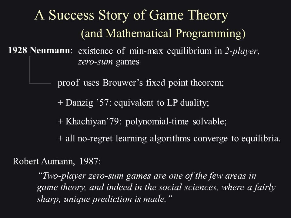 1928 Neumann: A Success Story of Game Theory (and Mathematical Programming) proof uses Brouwer's fixed point theorem; + Danzig '57: equivalent to LP duality; + Khachiyan'79: polynomial-time solvable; existence of min-max equilibrium in 2-player, zero-sum games ''Two-player zero-sum games are one of the few areas in game theory, and indeed in the social sciences, where a fairly sharp, unique prediction is made.'' Robert Aumann, 1987: + all no-regret learning algorithms converge to equilibria.