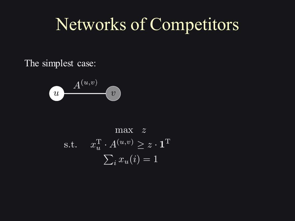 Networks of Competitors The simplest case: