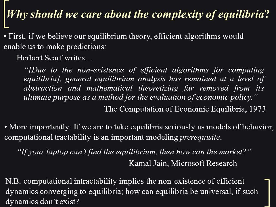 Why should we care about the complexity of equilibria.