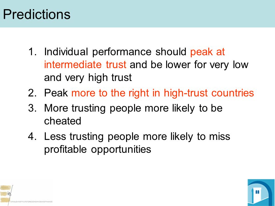 Predictions 1.Individual performance should peak at intermediate trust and be lower for very low and very high trust 2.Peak more to the right in high-trust countries 3.More trusting people more likely to be cheated 4.Less trusting people more likely to miss profitable opportunities