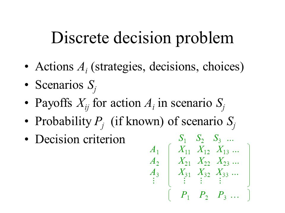 Discrete decision problem Actions A i (strategies, decisions, choices) Scenarios S j Payoffs X ij for action A i in scenario S j Probability P j (if known) of scenario S j Decision criterion S 1 S 2 S 3 … A 1 X 11 X 12 X 13 … A 2 X 21 X 22 X 23 … A 3 X 31 X 32 X 33 …....