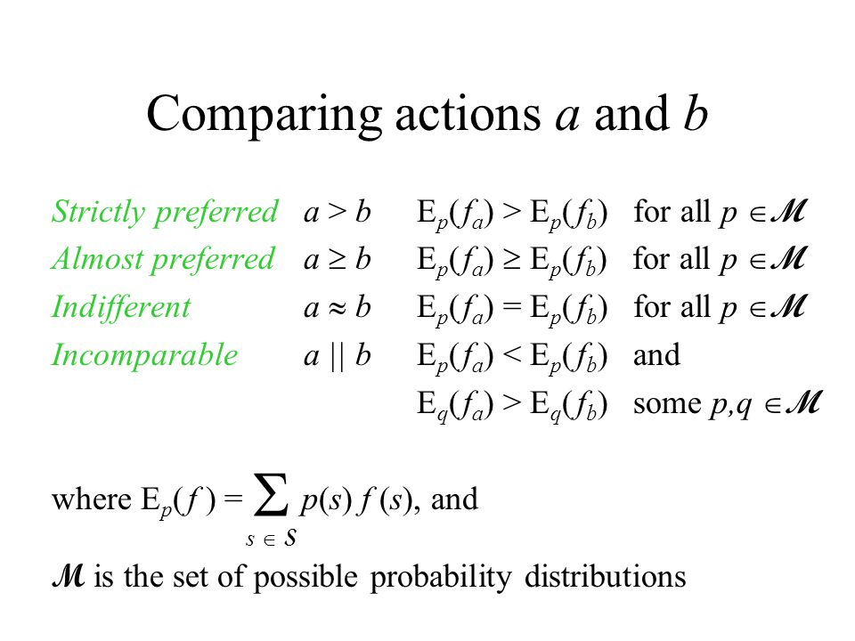Comparing actions a and b Strictly preferreda > b E p ( f a ) > E p ( f b ) for all p  M Almost preferreda  b E p ( f a )  E p ( f b ) for all p  M Indifferenta  b E p ( f a ) = E p ( f b ) for all p  M Incomparablea || b E p ( f a ) < E p ( f b ) and E q ( f a ) > E q ( f b ) some p,q  M where E p ( f ) = p(s) f (s), and M is the set of possible probability distributions s  Ss  S