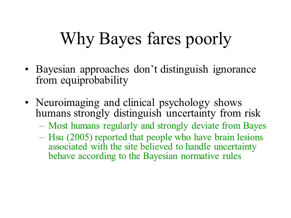 Why Bayes fares poorly Bayesian approaches don't distinguish ignorance from equiprobability Neuroimaging and clinical psychology shows humans strongly distinguish uncertainty from risk –Most humans regularly and strongly deviate from Bayes –Hsu (2005) reported that people who have brain lesions associated with the site believed to handle uncertainty behave according to the Bayesian normative rules Bayesians are too sure of themselves (e.g., Clippy)