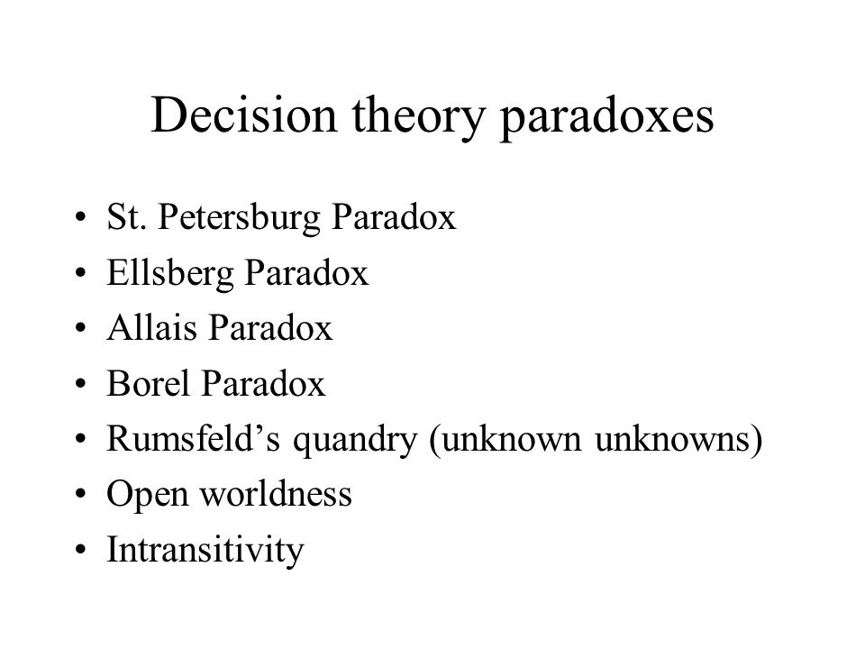 Decision theory paradoxes St.