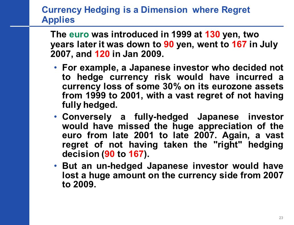 23 Currency Hedging is a Dimension where Regret Applies The euro was introduced in 1999 at 130 yen, two years later it was down to 90 yen, went to 167 in July 2007, and 120 in Jan 2009.
