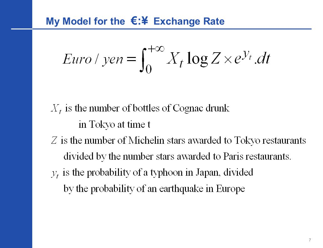 7 My Model for the €:¥ Exchange Rate