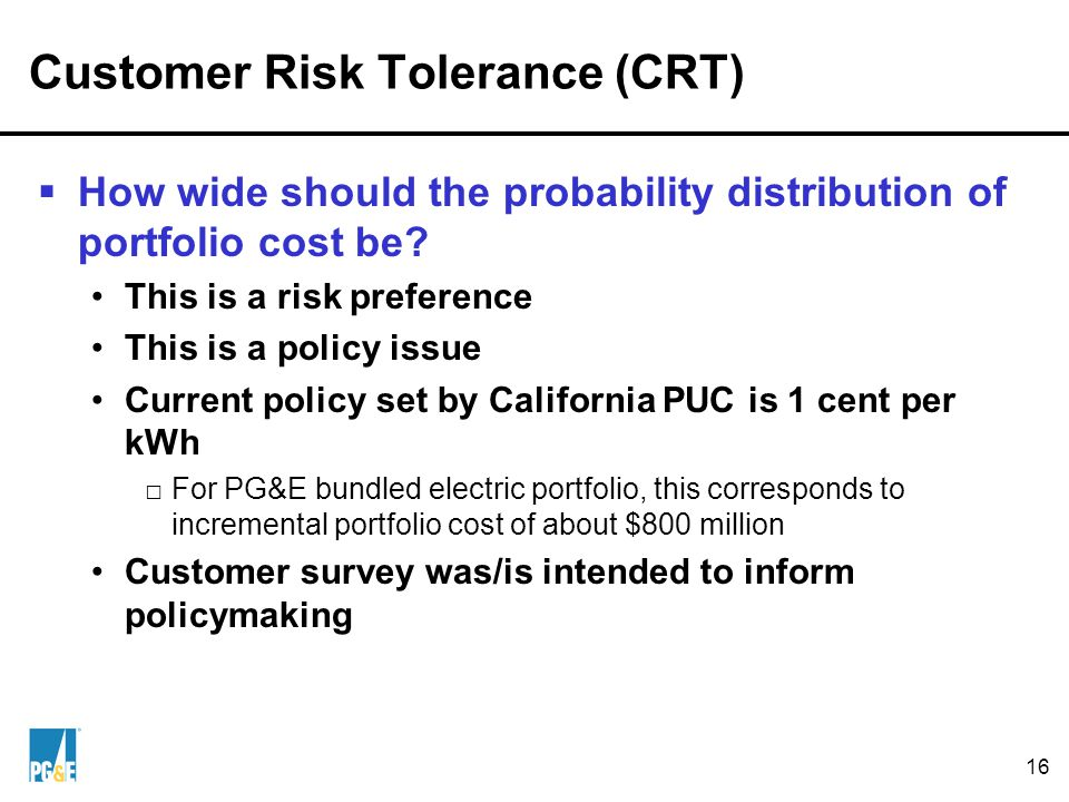 16 Customer Risk Tolerance (CRT)  How wide should the probability distribution of portfolio cost be.