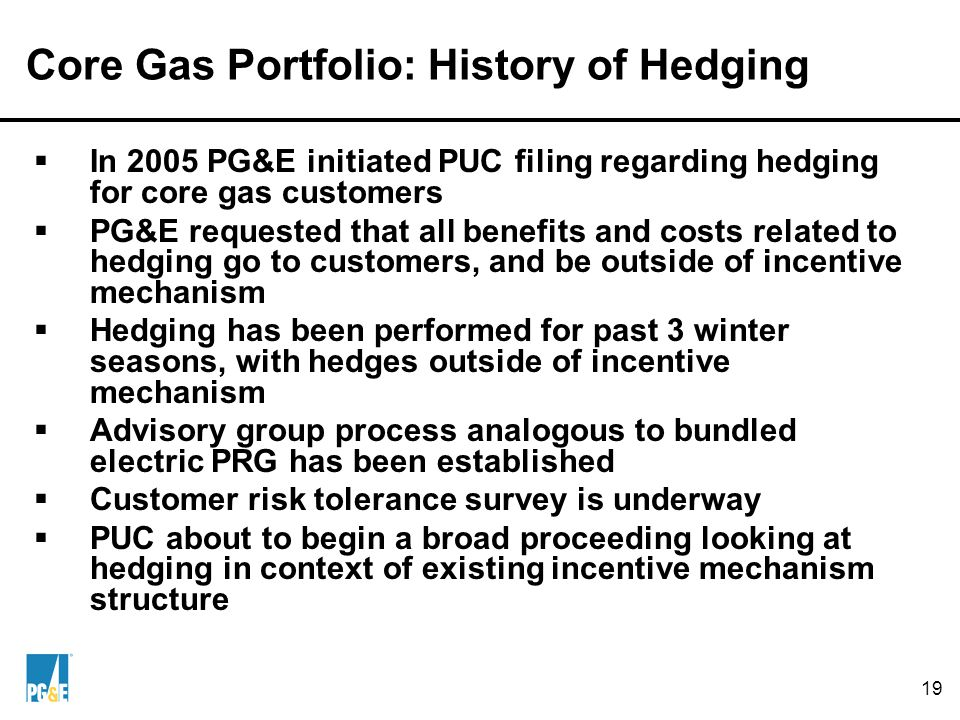 19 Core Gas Portfolio: History of Hedging  In 2005 PG&E initiated PUC filing regarding hedging for core gas customers  PG&E requested that all benefits and costs related to hedging go to customers, and be outside of incentive mechanism  Hedging has been performed for past 3 winter seasons, with hedges outside of incentive mechanism  Advisory group process analogous to bundled electric PRG has been established  Customer risk tolerance survey is underway  PUC about to begin a broad proceeding looking at hedging in context of existing incentive mechanism structure