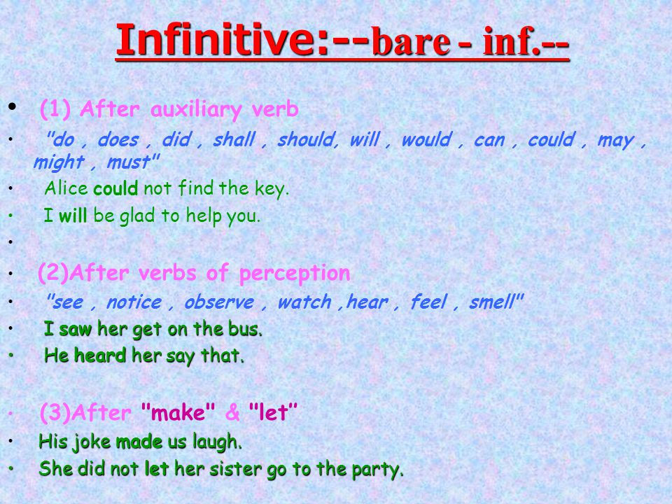 Infinitive:-- bare - inf.-- (1) After auxiliary verb