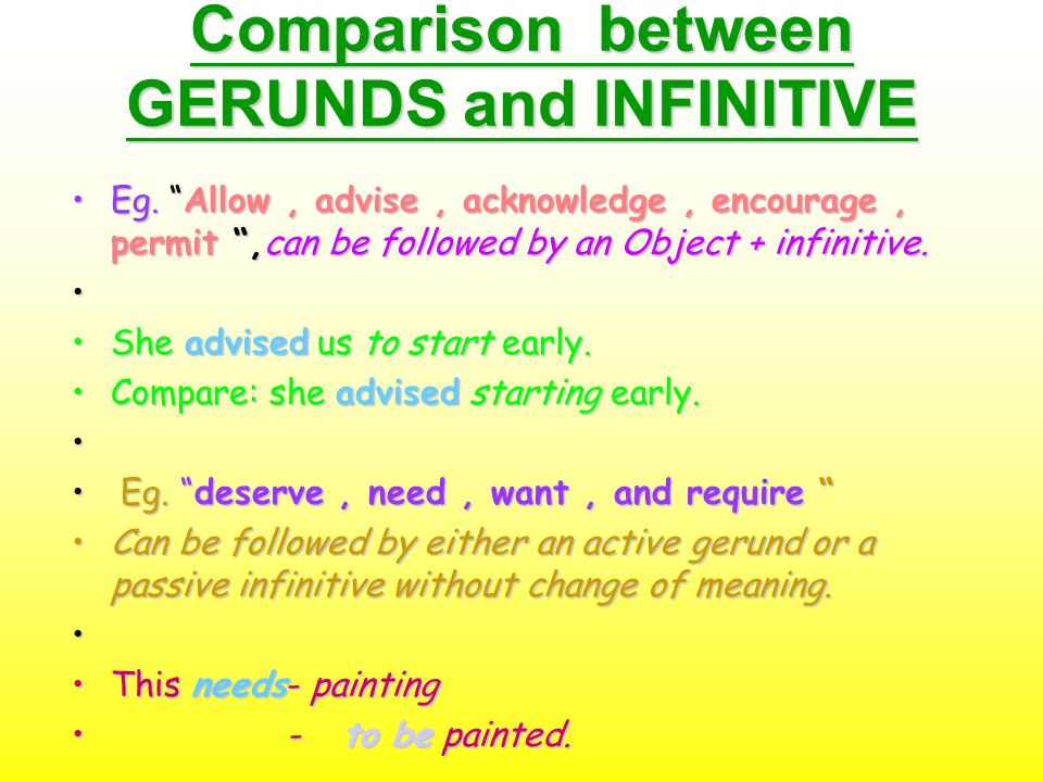 """Comparison between GERUNDS and INFINITIVE Eg. """"Allow, advise, acknowledge, encourage, permit """",can be followed by an Object + infinitive.Eg. """"Allow, a"""