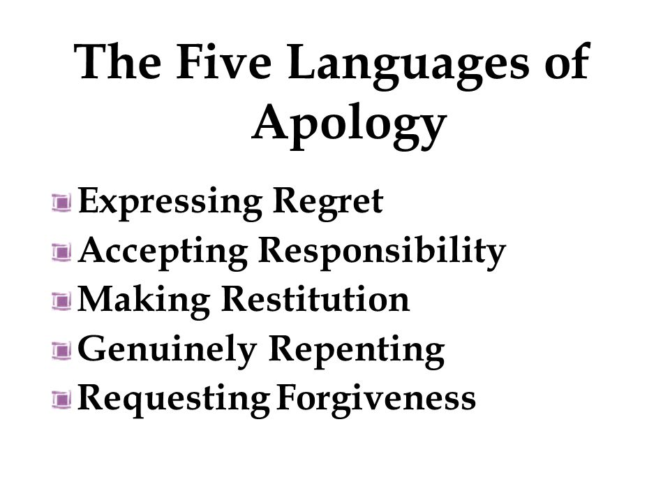 Expressing Regret I am sorry. The Five Languages of Apology: